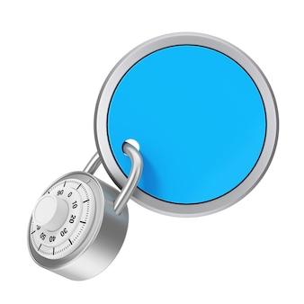 Concept de sécurité. badge brillant avec espace vide pour le vôtre signe verrouillé par cadenas sur fond blanc. rendu 3d