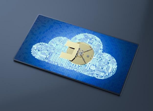 Concept de sécurité cloud avec coffre-fort bancaire de rendu 3d sur le cloud de circuit