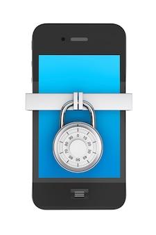 Concept de sécurité du téléphone. téléphone portable avec serrure sur fond blanc