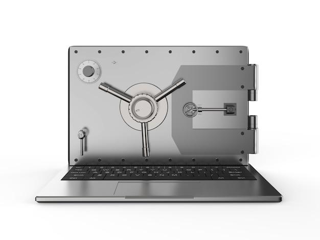 Concept de sécurité en ligne avec porte de coffre-fort de rendu 3d sur ordinateur portable