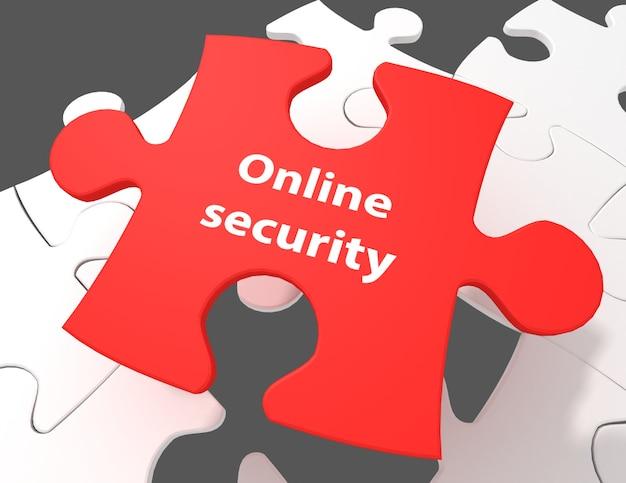 Concept de sécurité : sécurité en ligne sur fond de pièces de puzzle blanc, rendu 3d