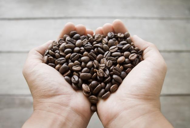 Concept de semences coeur de grains de café