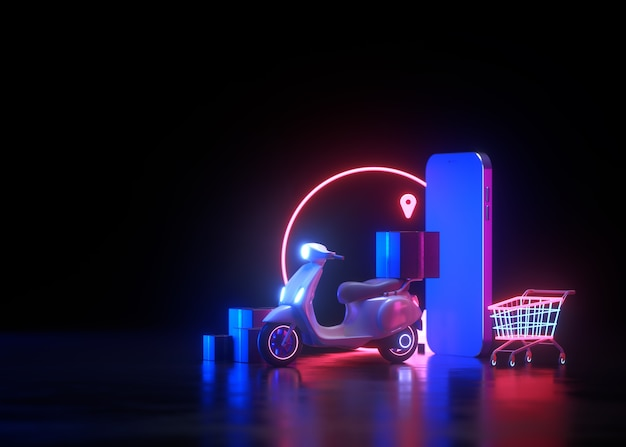 Concept de service d'achat en ligne et de livraison gratuite 3d neon