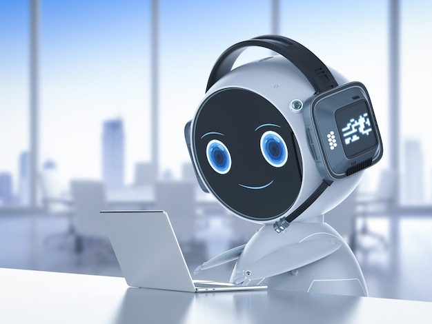 Concept de service client d'automatisation avec robot travaillant avec un casque et un ordinateur portable