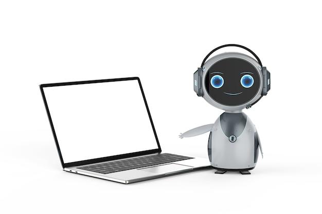 Concept de service client d'automatisation avec robot travaillant avec un ordinateur portable