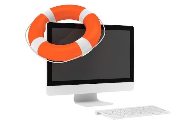 Concept de service électronique. ordinateur de bureau avec bouée de sauvetage sur fond blanc