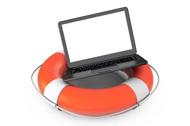 Concept de service électronique. ordinateur portable moderne avec bouée de sauvetage sur fond blanc