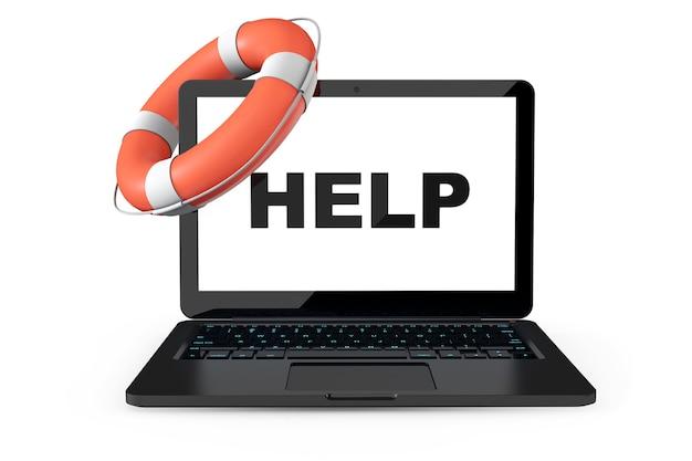 Concept de service électronique. ordinateur portable moderne avec bouée de sauvetage et signe d'aide sur fond blanc