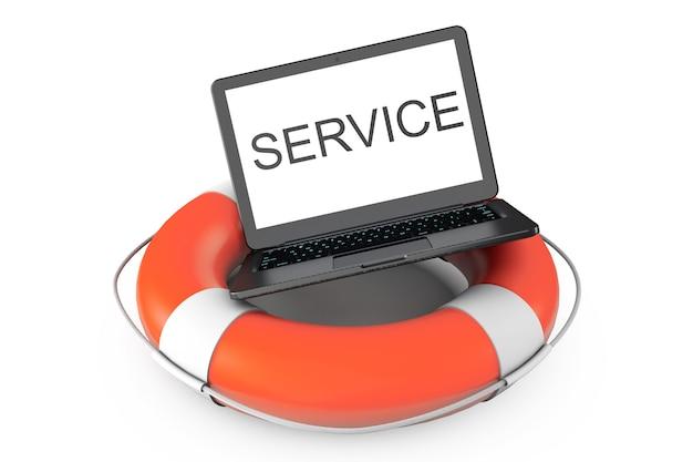 Concept de service électronique. ordinateur portable moderne avec bouée de sauvetage et signe de service sur fond blanc