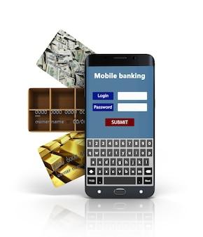 Concept de services bancaires mobiles, avec un smartphone à écran blanc couché sur les cartes de crédit bancaire 3d render