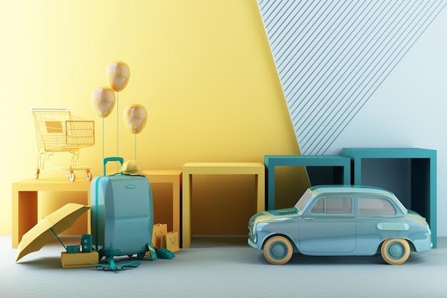 Concept de shopping d'été avec des bagages en rendu 3d de ton jaune et vert