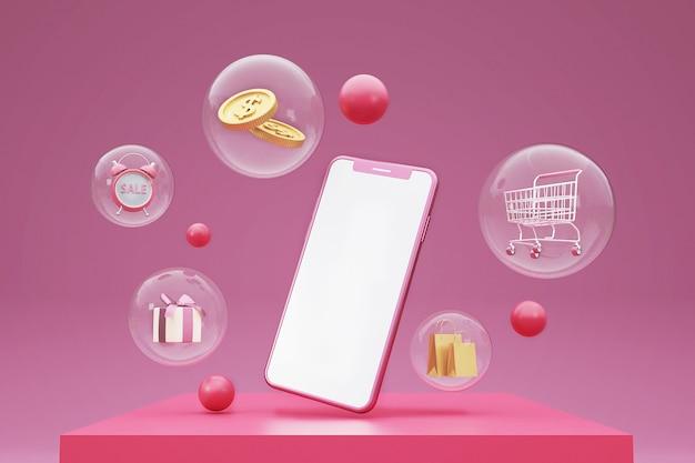 Concept de shopping en ligne 3d avec panier, argent, boîte-cadeau et téléphone mobile. rendu 3d.