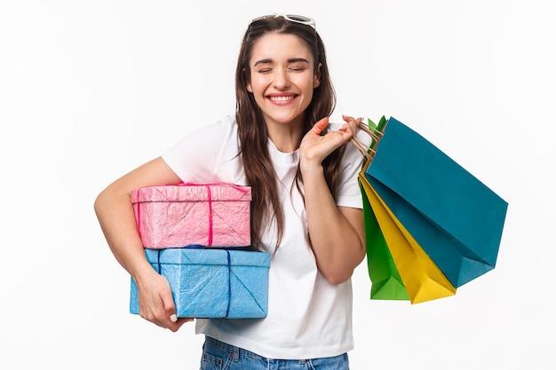 Concept de shopping, vacances et style de vie