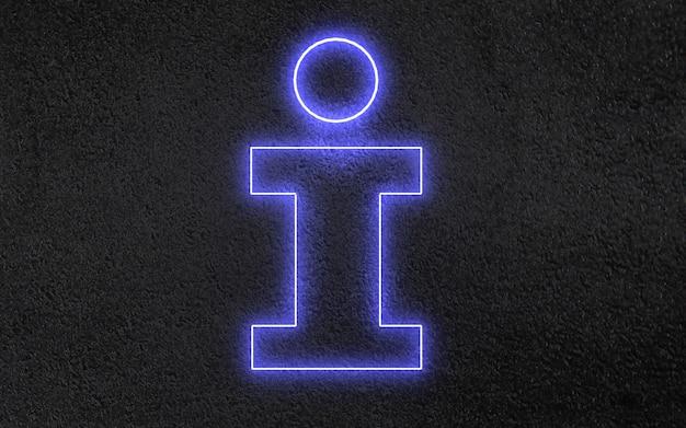 Concept de signe d & # 39; information au néon 3d