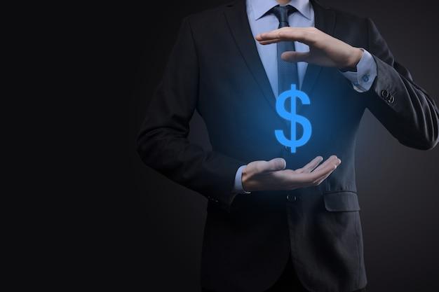 Concept de sinvestment symbole financier international réussi avec homme d'affaires homme personne tenir montrant la croissance, les graphiques et le signe dollar, la technologie numérique.