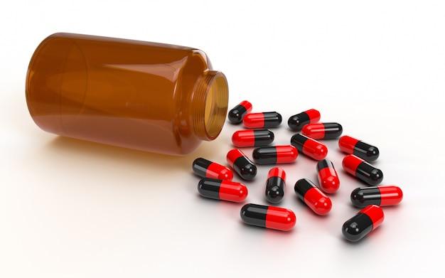 Concept de soins de santé médicaux avec des pilules et des comprimés débordant d'une bouteille de médicament. la protection empêche la propagation des germes et des bactéries et évite les infections virus corona covid-19