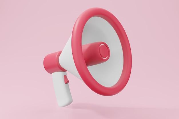 Concept de son ou de voix de cri de mégaphone. microphone de haut-parleur d'entreprise rendu 3d en couleur pastel.