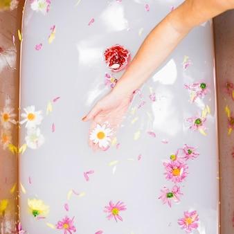 Concept de spa avec des fleurs dans la baignoire