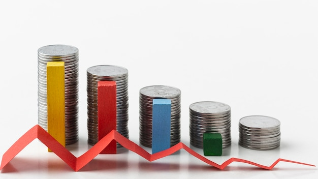 Concept de statistiques avec des piles de pièces