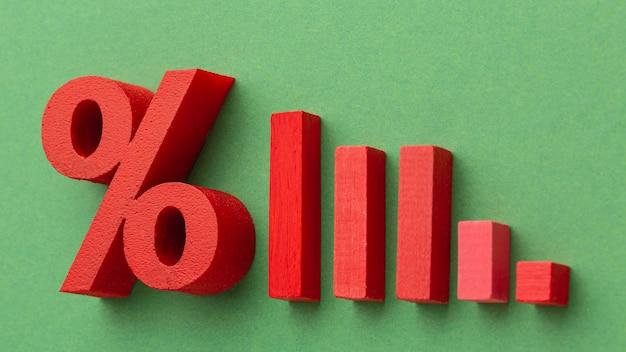 Concept de statistiques avec pour cent et blocs de bois