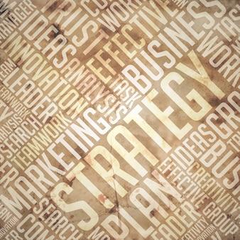 Concept de stratégie. grunge beige - wordcloud marron.