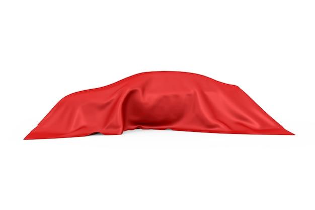 Concept de surprise, de récompense ou de prix. voiture berline cachée recouverte de tissu de soie blanc sur fond blanc. rendu 3d