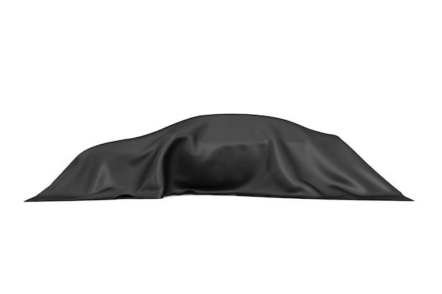 Concept de surprise, de récompense ou de prix. voiture berline cachée recouverte de tissu de soie noir sur fond blanc. rendu 3d