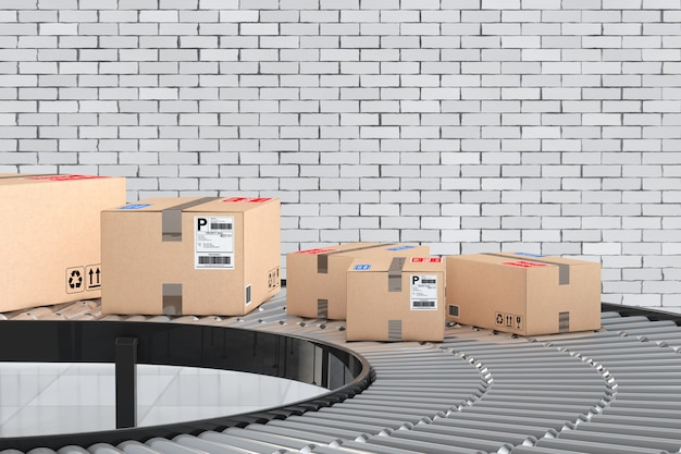 Concept de système de transport de colis. boîtes en carton sur convoyeur dans l'entrepôt devant le mur de briques. rendu 3d