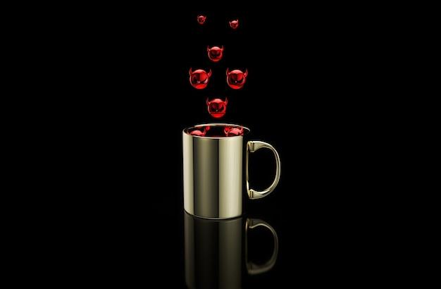 Concept d'une tasse de café chaud avec des bugs