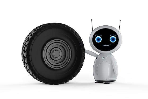 Concept de technologie aéronautique avec robot convivial de rendu 3d avec moteur à réaction