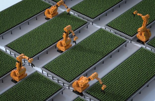 Concept de technologie agricole avec bras robotisé en serre