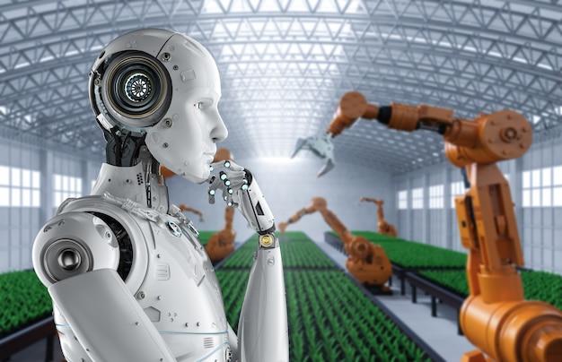 Concept de technologie agricole avec des cyborgs de rendu 3d en serre