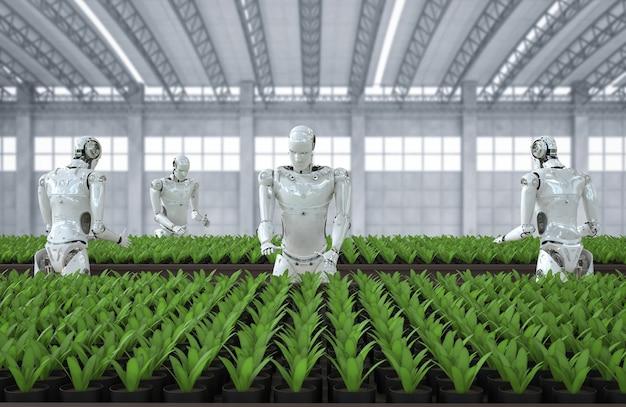 Concept de technologie agricole avec des cyborgs en serre