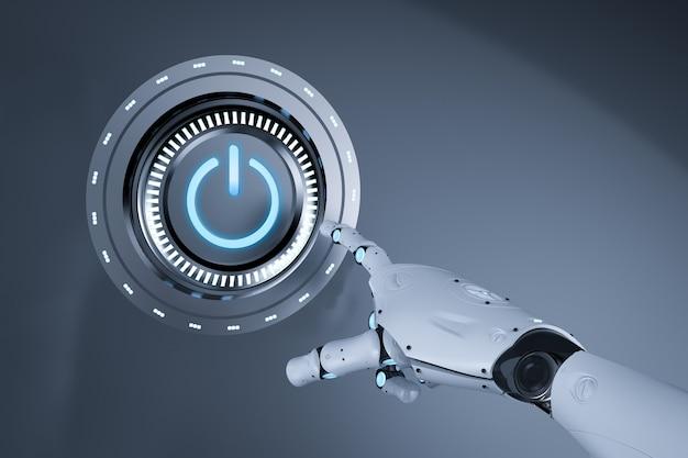 Concept de technologie d'automatisation avec bouton d'alimentation à main cyborg