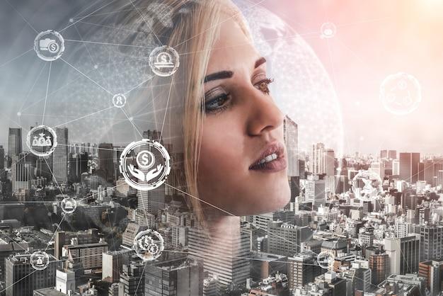 Concept de technologie des finances et des transactions monétaires.