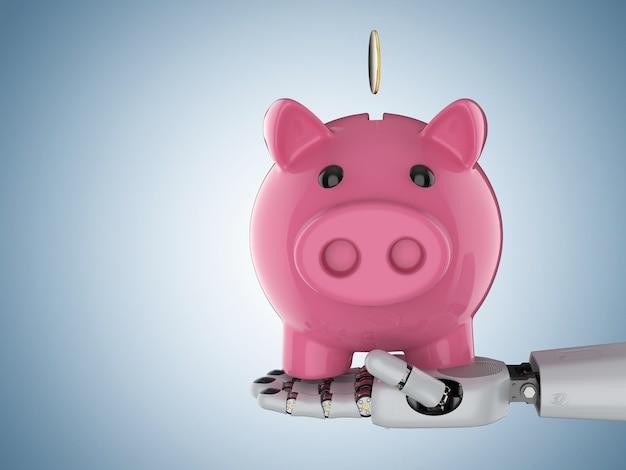 Concept de technologie financière avec la main de cyborg de rendu 3d tenant la tirelire