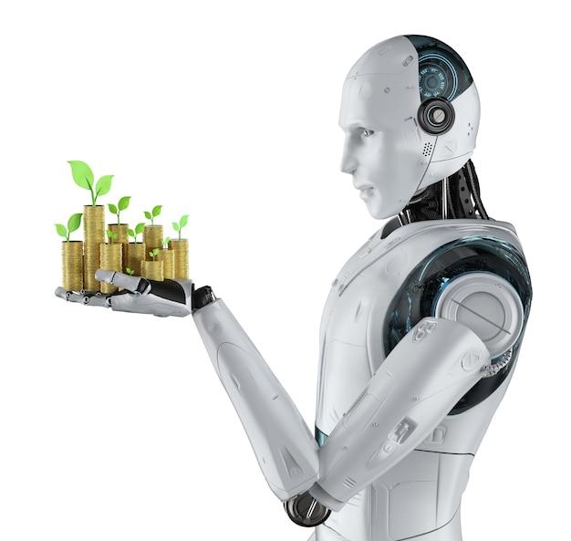 Concept de technologie financière avec main robotique de rendu 3d tenant des pièces d'or isolées sur blanc