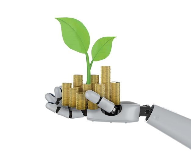 Concept de technologie financière avec main robotique de rendu 3d tenant des pièces d'or