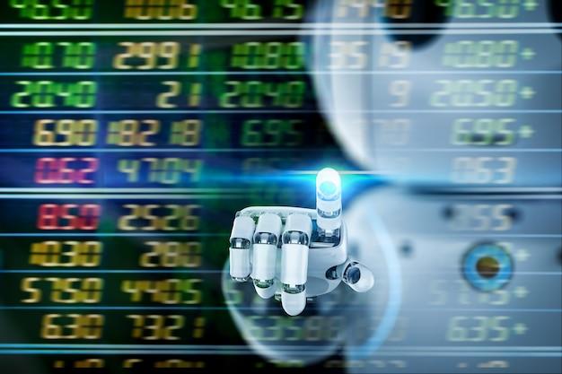 Le concept de technologie financière avec un robot mignon de rendu 3d analyse le marché boursier