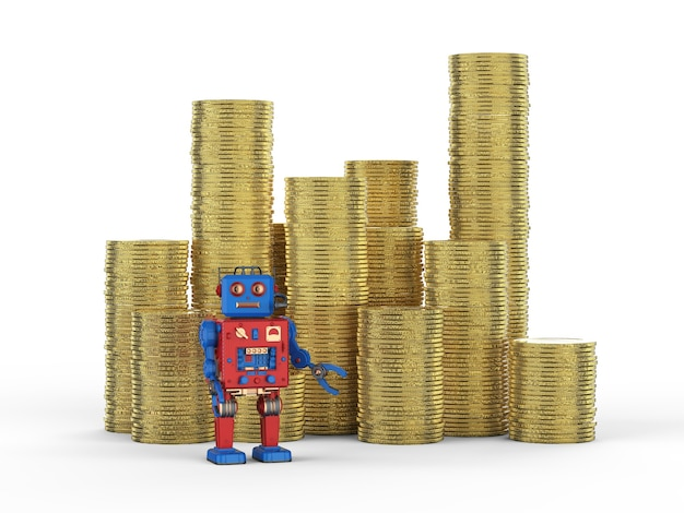 Concept de technologie financière avec robot de rendu 3d avec pile de pièces d'or