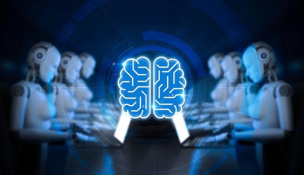 Concept de technologie d'ia avec cyborg de rendu 3d ou robot avec cerveau de circuit
