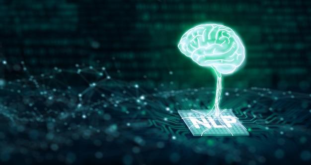 Concept de technologie d'informatique cognitive d'apprentissage automatique et de traitement du langage naturel pnl