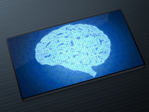 Concept de technologie d'intelligence artificielle avec cerveau de circuit