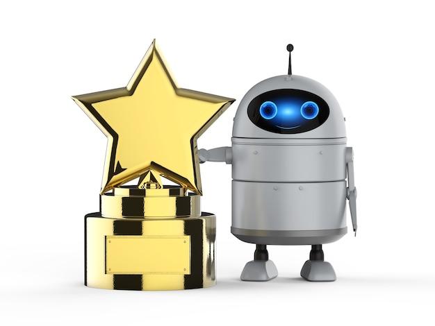 Concept de technologie de leadership rendu 3d robot android ou robot d'intelligence artificielle avec trophée étoile d'or
