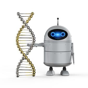 Concept de technologie médicale rendu 3d robot android ou robot d'intelligence artificielle avec hélice d'adn