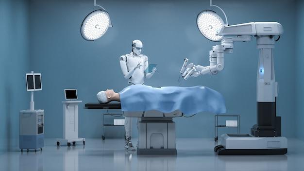 Concept de technologie médicale avec robot de chirurgie de rendu 3d dans la salle d'opération