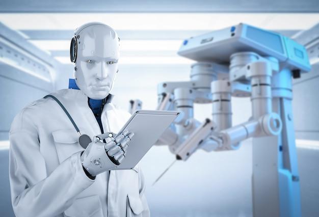 Concept de technologie médicale avec robot médecin de rendu 3d avec robot chirurgical dans la salle d'opération