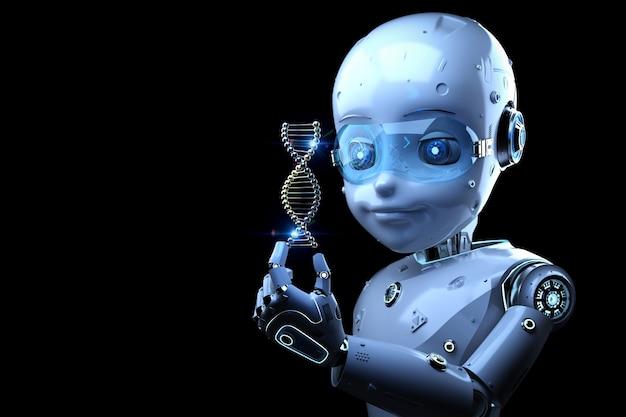 Concept de technologie médicale avec un robot mignon de rendu 3d tenant une hélice d'adn