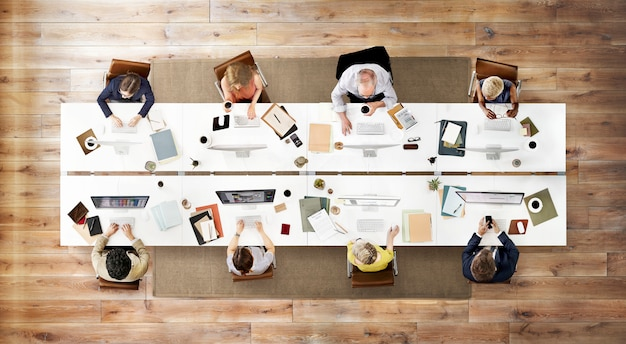 Concept de technologie numérique business team meeting connection