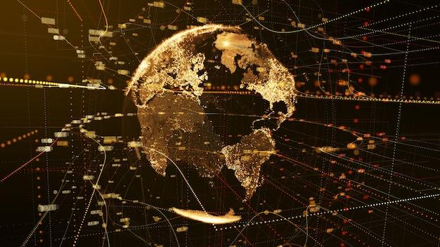 Concept de technologie numérique de réseau de données de particules de terre brun foncé. rendu 3d.